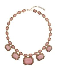 Mikey | Pink Rectangle Enamels Chain Linked Necklace | Lyst
