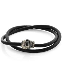 Tateossian - Berlin Skull Bracelet In Black Leather With Silver Clasp for Men - Lyst