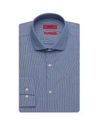 HUGO - Blue 'eastonx'   Slim Fit, Cotton Microstripe Dress Shirt for Men - Lyst