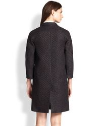 Carven - Brown Leather-Trimmed Woven Jacquard Coat - Lyst