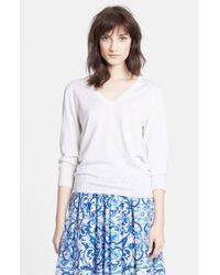 Dolce & Gabbana | White V-Neck Cashmere & Silk Sweater | Lyst