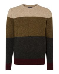 Howick | Green Stoneham Panel Crew Neck Jumper for Men | Lyst