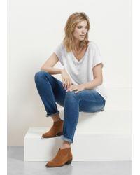 Violeta by Mango - White Linen T-shirt - Lyst