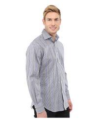 Thomas Dean Blue Long-sleeve Dobby Check Woven Shirt for men