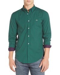 Lacoste - Green 'mini Gingham' Slim Fit Poplin Woven Shirt for Men - Lyst