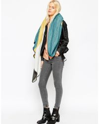 ASOS - Multicolor Oversized Square Scarf In Pastel Block Colour With Blanket Stitch - Lyst