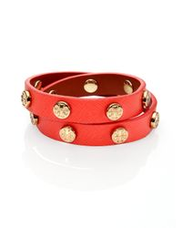 Tory Burch | Red Logo Stud Saffiano Leather Double-wrap Bracelet | Lyst