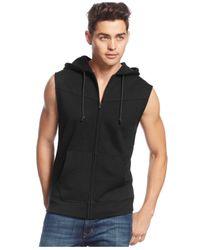American Rag | Black Hooded & Quilted Vest for Men | Lyst