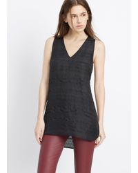 Vince | Black Ribbon Stripe Jacquard Sleeveless V-neck Top | Lyst