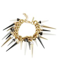 Steve Madden | Metallic Tri-Tone Chain And Spike Accent Bracelet | Lyst
