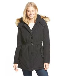 Vince Camuto | Black Belted Shell Parka | Lyst