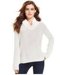 Calvin Klein Jeans White Metallic-Knit Turtleneck Sweater