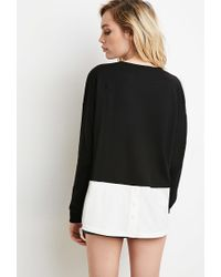 Forever 21 | Black Layered Pullover Sweatshirt | Lyst
