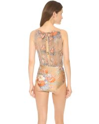 Zimmermann Brown Anais Floral Mesh One Piece - Nude Floral