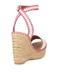 Valentino - Pink Stitched Leather Wedge Espadrilles - Lyst