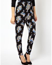 ASOS - Black Peg Trousers in Ditsy Pink Floral Print - Lyst