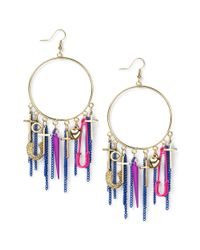 Material Girl | Metallic Goldtone Colorful Charm Hoop Earrings | Lyst