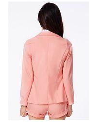 Missguided - Tiffany Premium Blazer in Baby Pink - Lyst