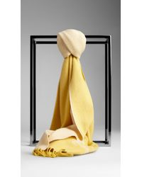 Burberry Yellow Equestrian Knight Cashmere Scarf