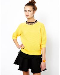 French Connection Yellow Mozart Jumper in Cotton Knit