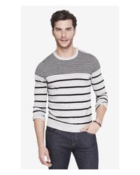 Express | Gray Striped Shoulder Button Crew Neck Sweater for Men | Lyst