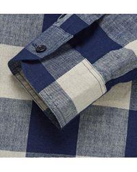 Hentsch Man | Blue Buffalo Checked Cotton And Linen-Blend Shirt for Men | Lyst