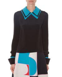ROKSANDA Black Lyndum Contrast-collar Blouse