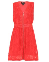 Cutie | Red Zip Detail Sleeveless Dress | Lyst