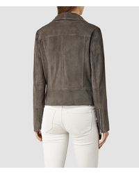 AllSaints - Gray Suede Bales Biker Jacket Usa Usa - Lyst