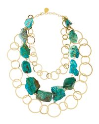 Devon Leigh | Green 24k Gold Multistrand Chrysocolla Necklace | Lyst