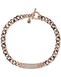 Michael Kors | Pink Rose Gold-Tone Curb Link Necklace | Lyst