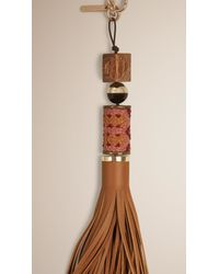Burberry Brown Bead And Leather Tassel Charm