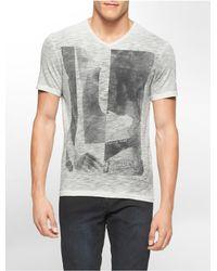 Calvin Klein | Gray White Label Performance Geometric Print V-neck T-shirt for Men | Lyst