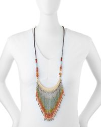 Nakamol - Pink Beaded Fringe Cord Necklace - Lyst