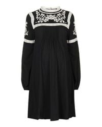 TOPSHOP | Black Maternity Embroidered Dress | Lyst