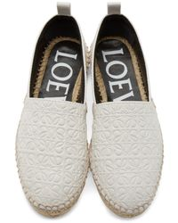 Loewe Natural White Leather Anagram Espadrilles