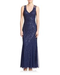 Aidan Mattox Blue Sequin V-neck Bridesmaid Gown