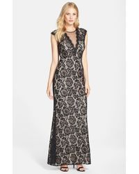 Betsy & Adam Black Illusion V-neck Lace Trumpet Gown