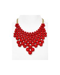 Aqua | Red Bubble Bib Statement Necklace, 16"