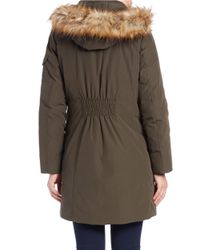 MICHAEL Michael Kors   Green Faux Fur-trimmed Parka   Lyst