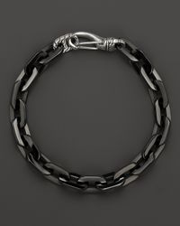 John Hardy | Men'S Classic Chain Silver Hook Station Bracelet With Black Stainless Steel for Men | Lyst