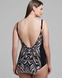 Gottex Black Plus Cote Divoire Square Neck Tank One Piece Swimsuit