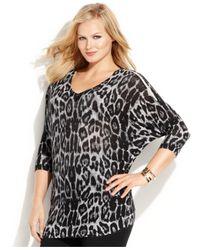 INC International Concepts Multicolor Plus Size Animal-Print Zip-Shoulder Sweater