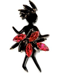 Marni | Black Strass Brooch, Women's, Red | Lyst