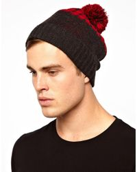 ASOS | Gray Bobble Beanie with Buffalo Check for Men | Lyst