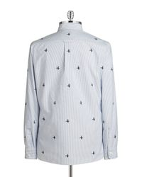 Brooks Brothers Red Fleece - Blue Duck Embroidered Oxford-striped Sportsshirt for Men - Lyst