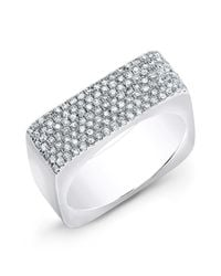 Anne Sisteron | Metallic 14kt White Gold Diamond Brick Ring | Lyst
