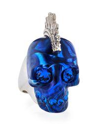Alexander McQueen Metallic Plexi Punk Skull Ring Bluesilvertone for men
