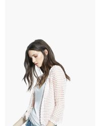 Mango Pink Cotton Crochet Cardigan