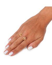 Leivan Kash - Metallic Gol Double Ring Gold - Lyst